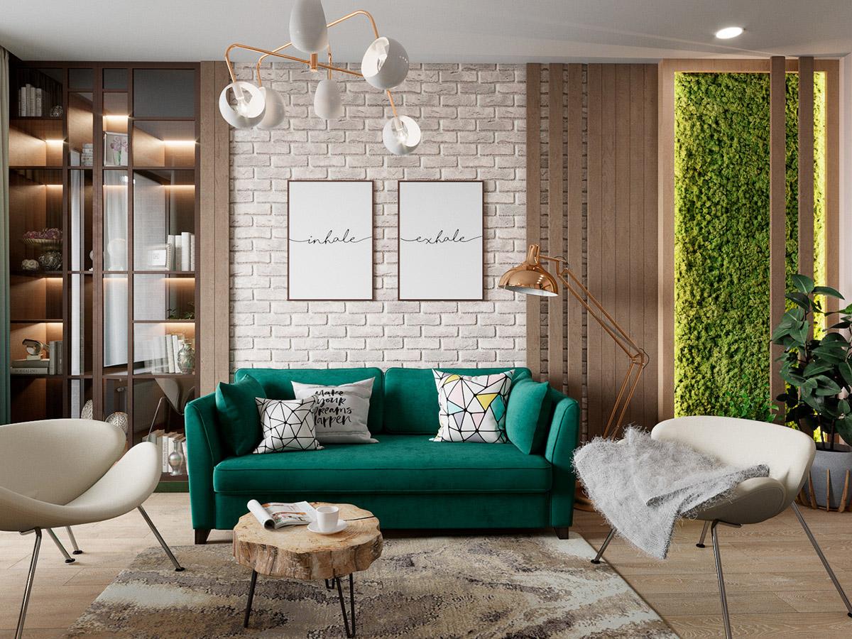 Интерьер в скандинавском стиле с роскошной зеленью: фотообзор