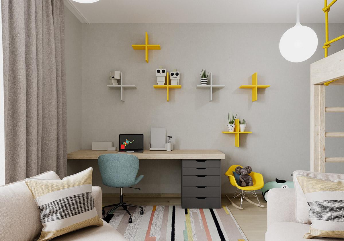 Рабочая зона в детской комнате: лучшие идеи на фото