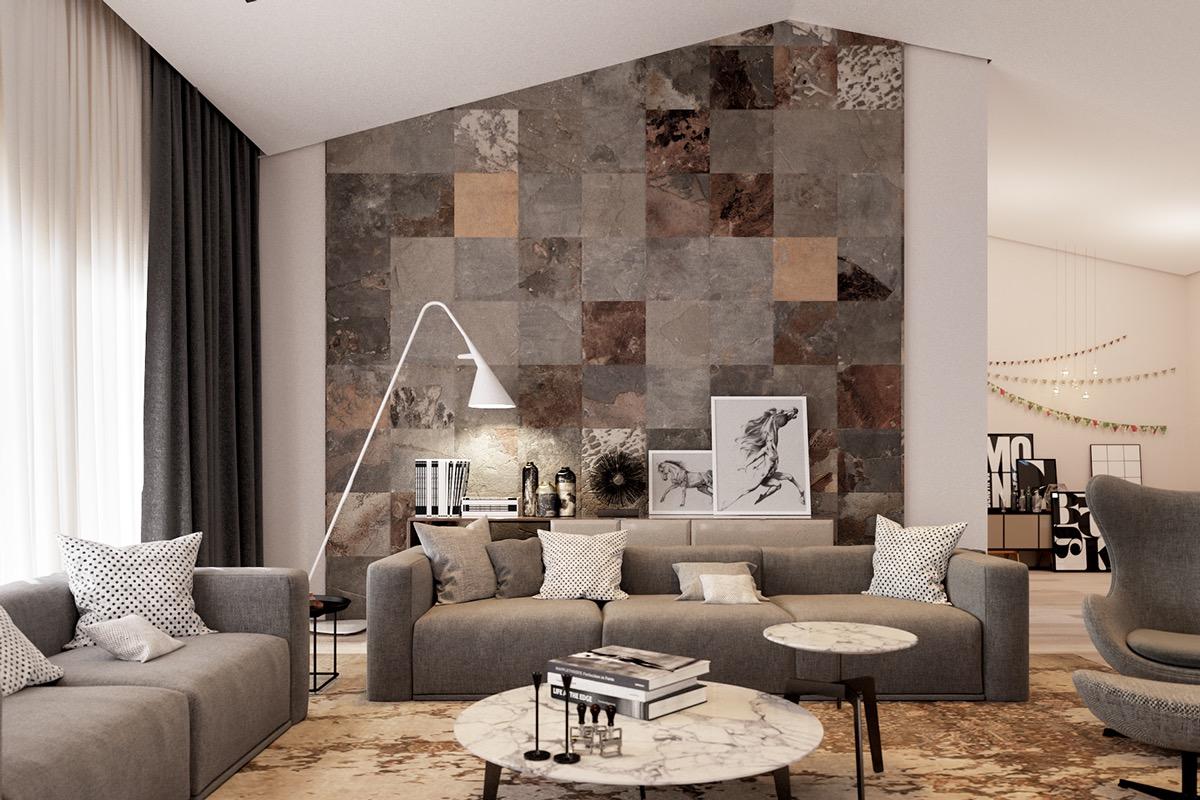 Дизайн стен для гостиной: идеи на фото
