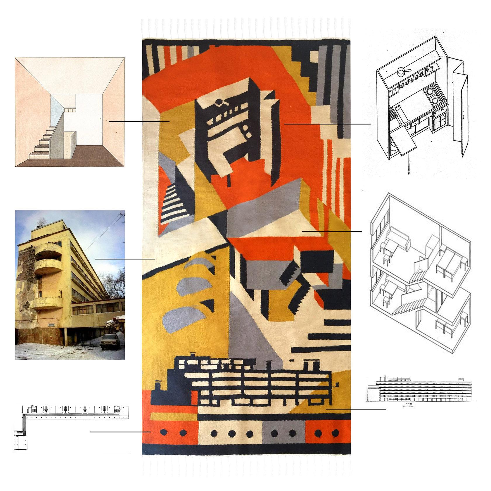 Дизайнеры создали ковер ручной работы, вдохновившись Домом Наркомфина