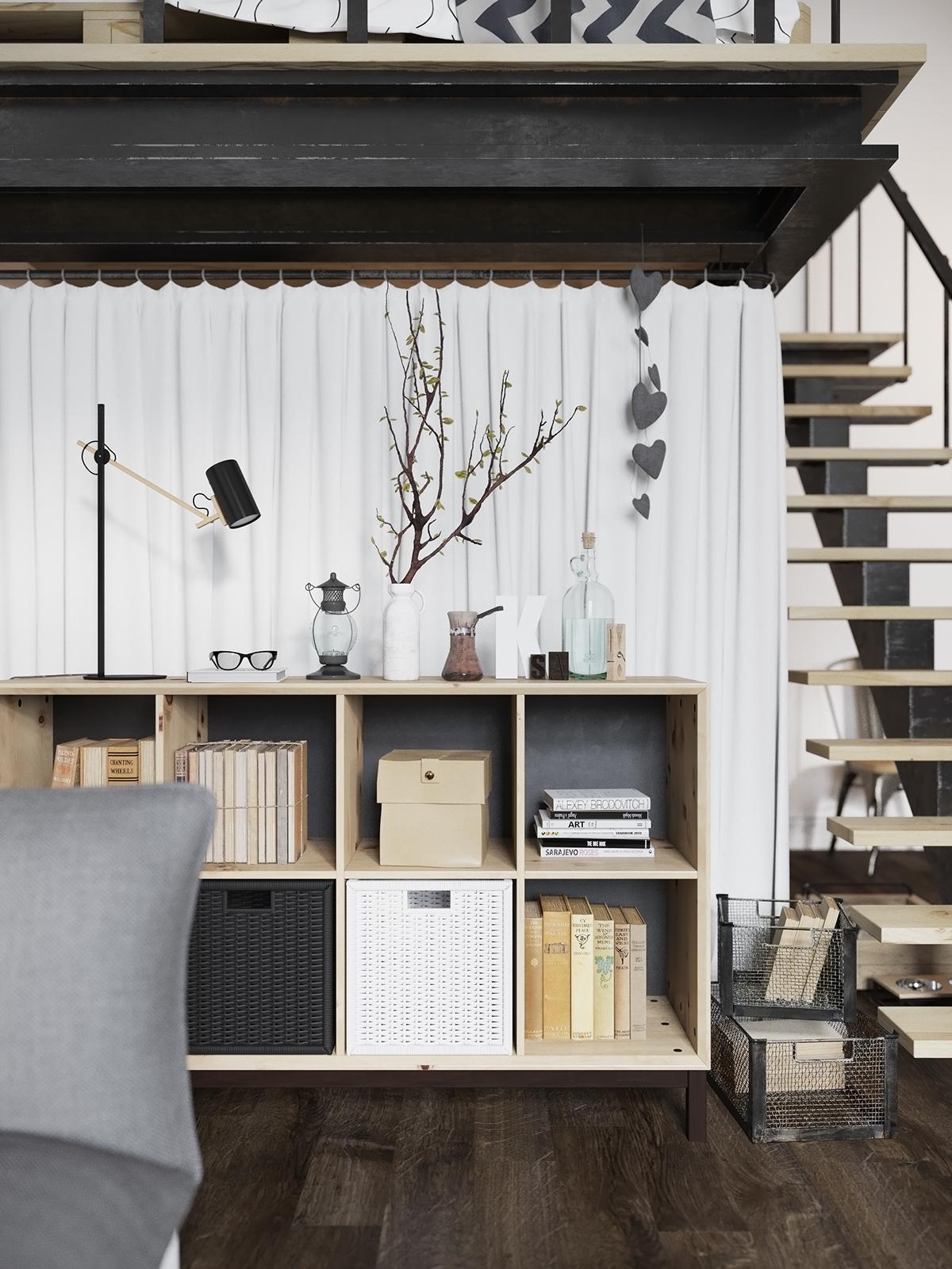Шикарная скандинавская студия с лофтовой кроватью: фотообзор