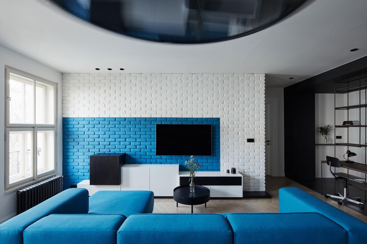 Синие гостиные: фото-коллекция небесных интерьеров