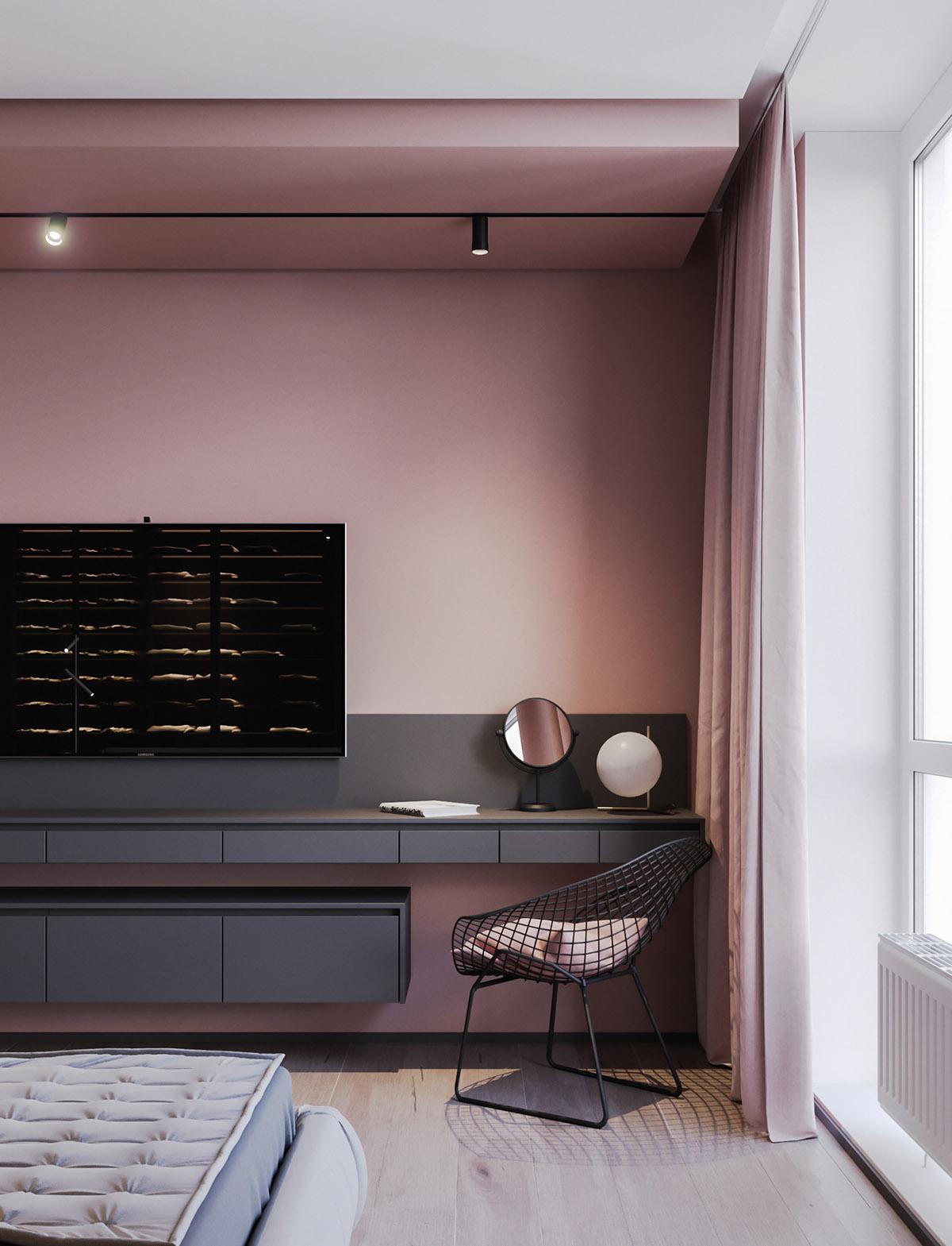 Яркий пример розово-серого дизайна: фотообзор интерьера