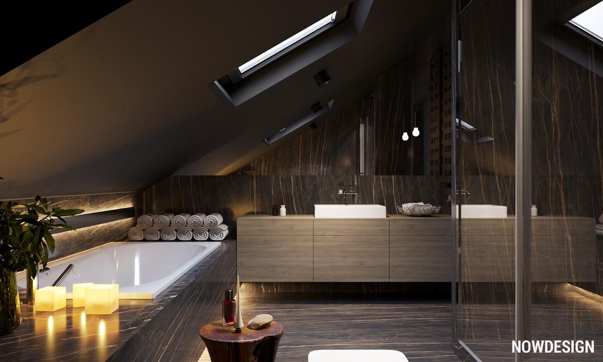 Светлый и темный дизайн под скатной крышей: фото-тур по люксовым интерьерам