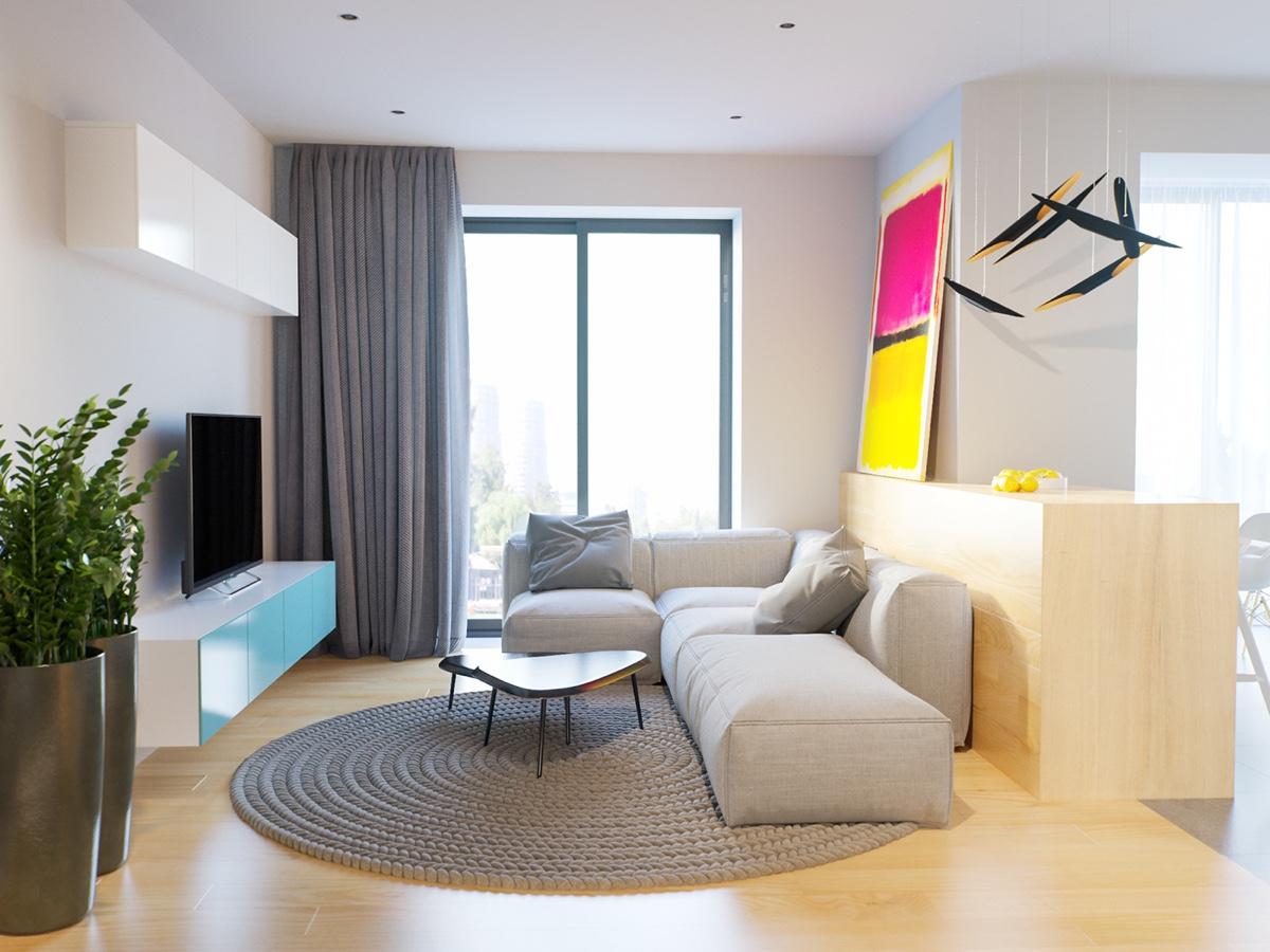 Светлые однокомнатные квартиры с креативной спальней: фотообзор