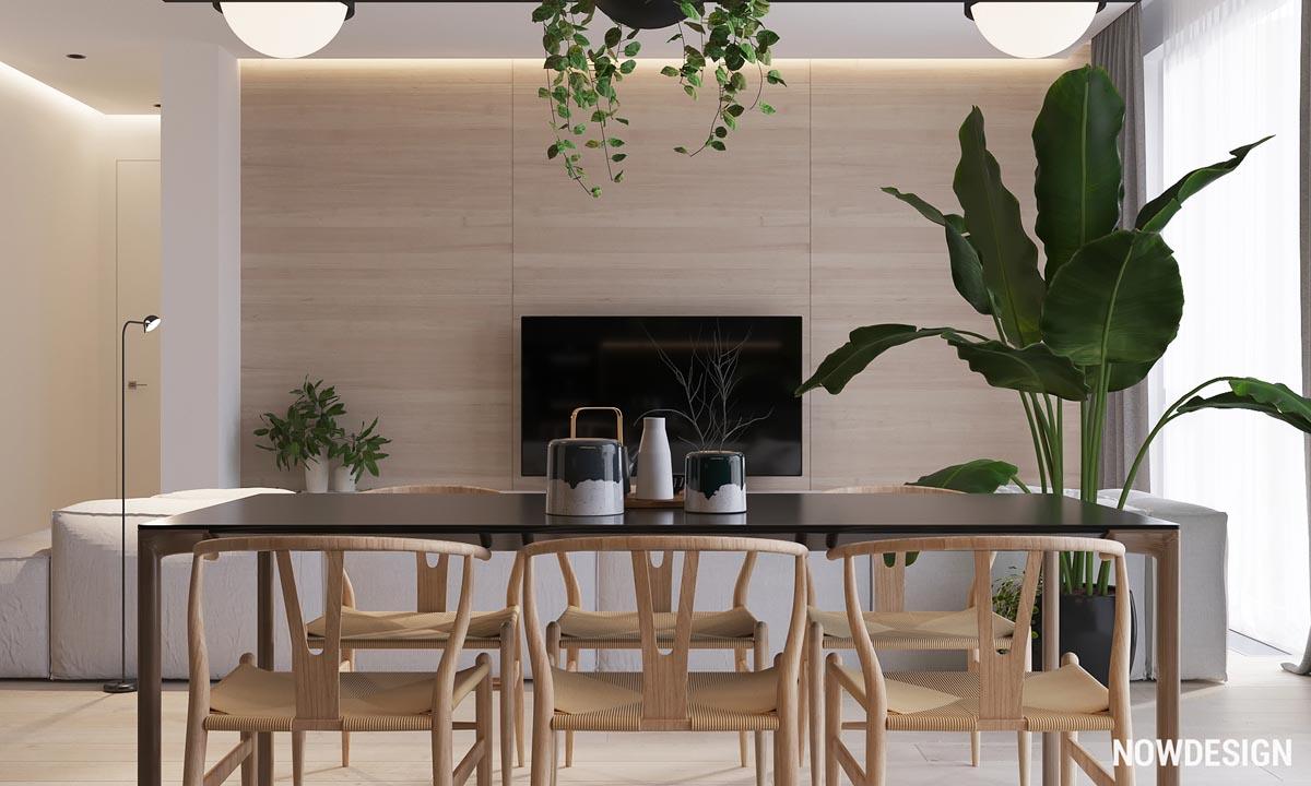 Черно-Белое пространство с роскошным декором из живой зелени: фотообзор