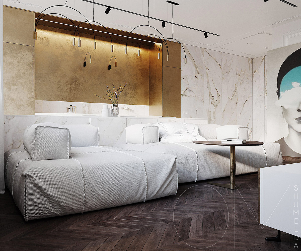 2 роскошных интерьера с акцентами из белого мрамора и золота: фотообзор