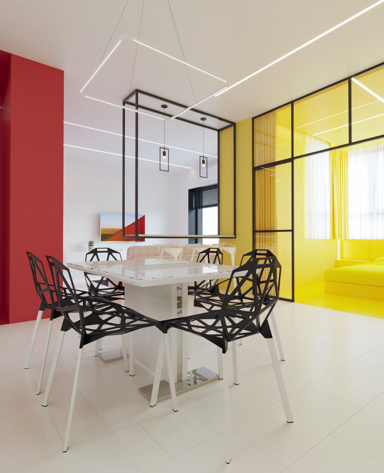 Mondrian-интерьер с Геометрическими Акцентами: Фотообзор