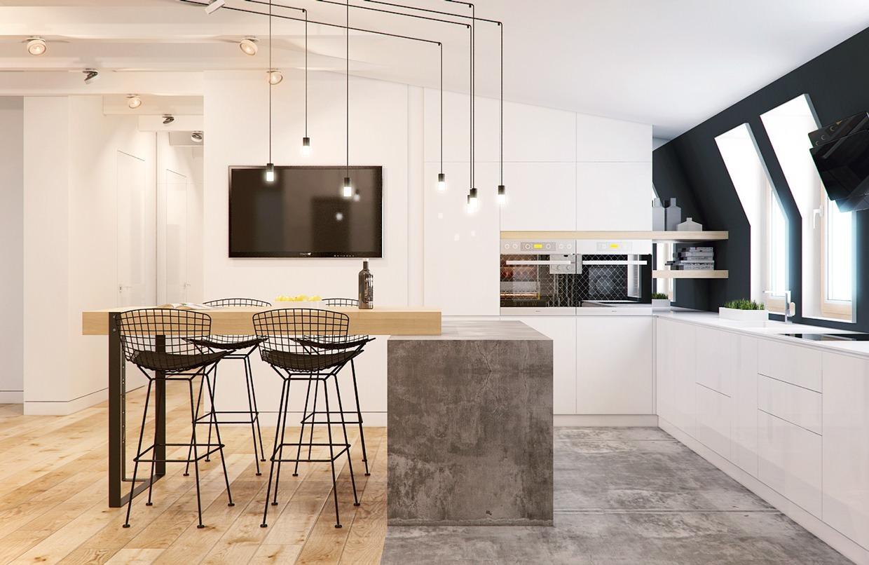 Вневременный дизайн квартиры со скатной крышей и индустриальными чертами: Фотообзор