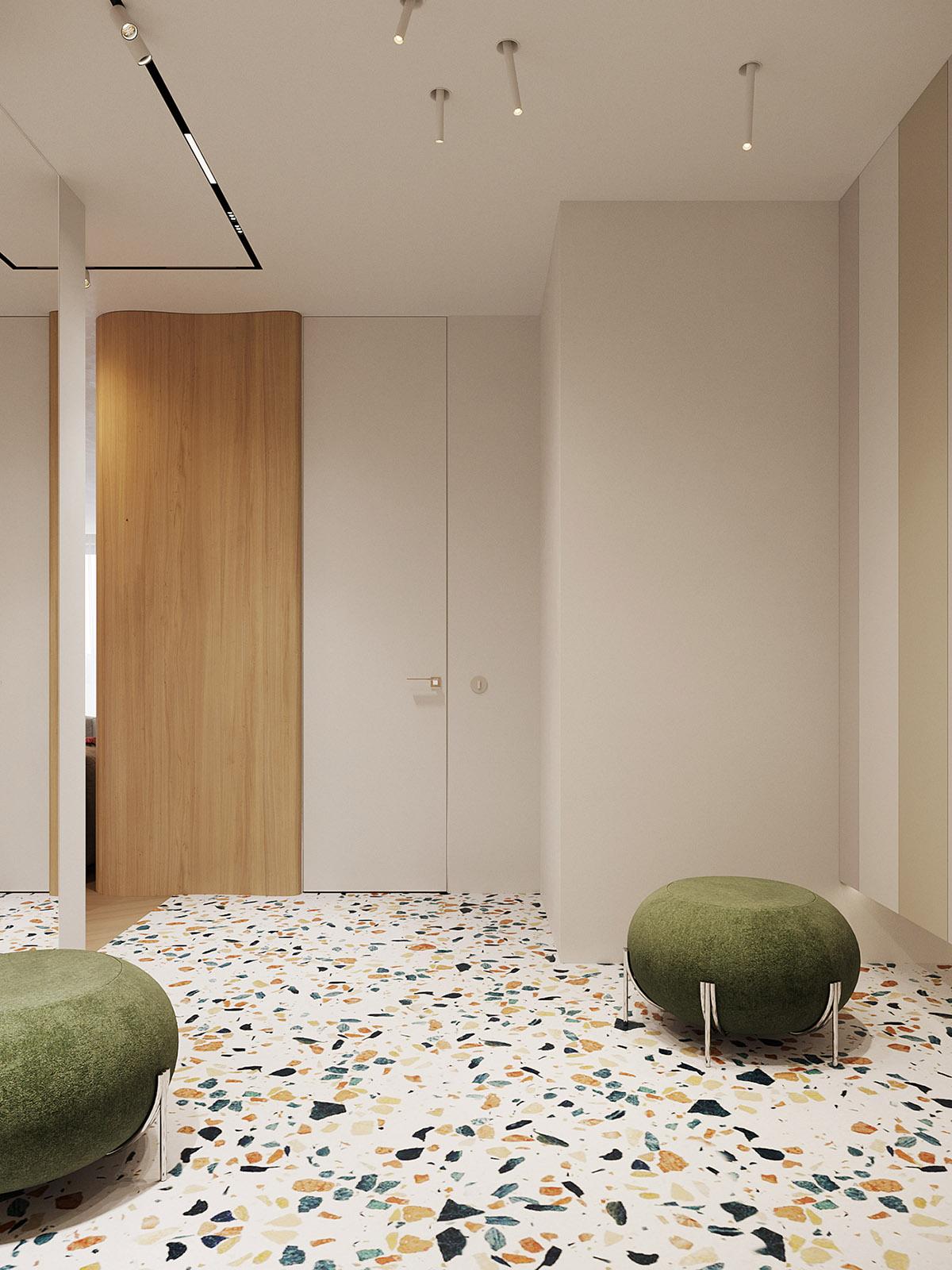 Ретро-современный интерьер с волнистой стеной: Фотообзор