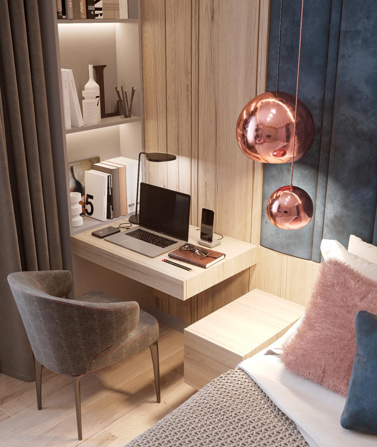Семейный дом класса люкс с голубым, розовым и золотым декором: Фотообзор