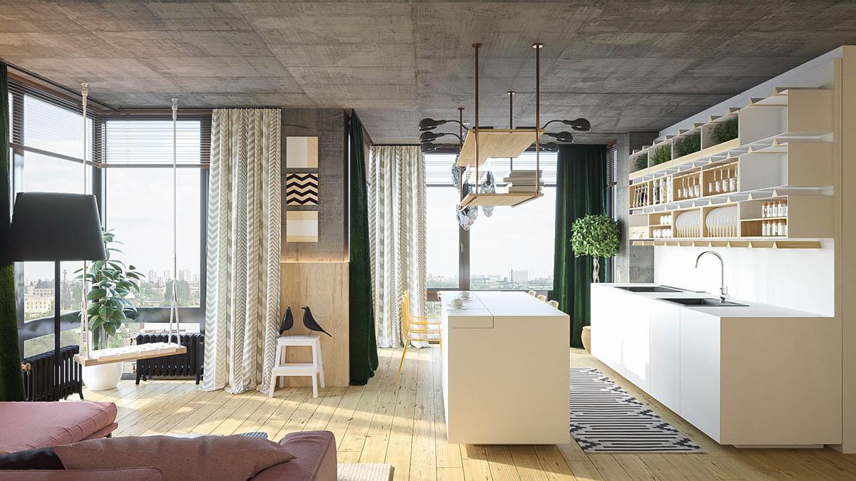 Светлый интерьер с необычными деталями: Фотообзор квартиры из Киева