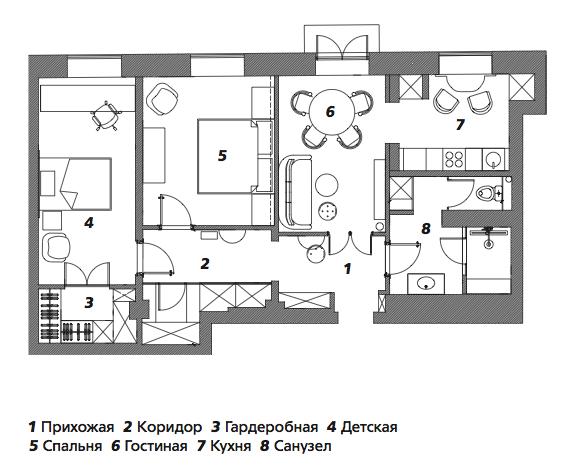 Классическая московская квартира с элементами иронии: Фотообзор