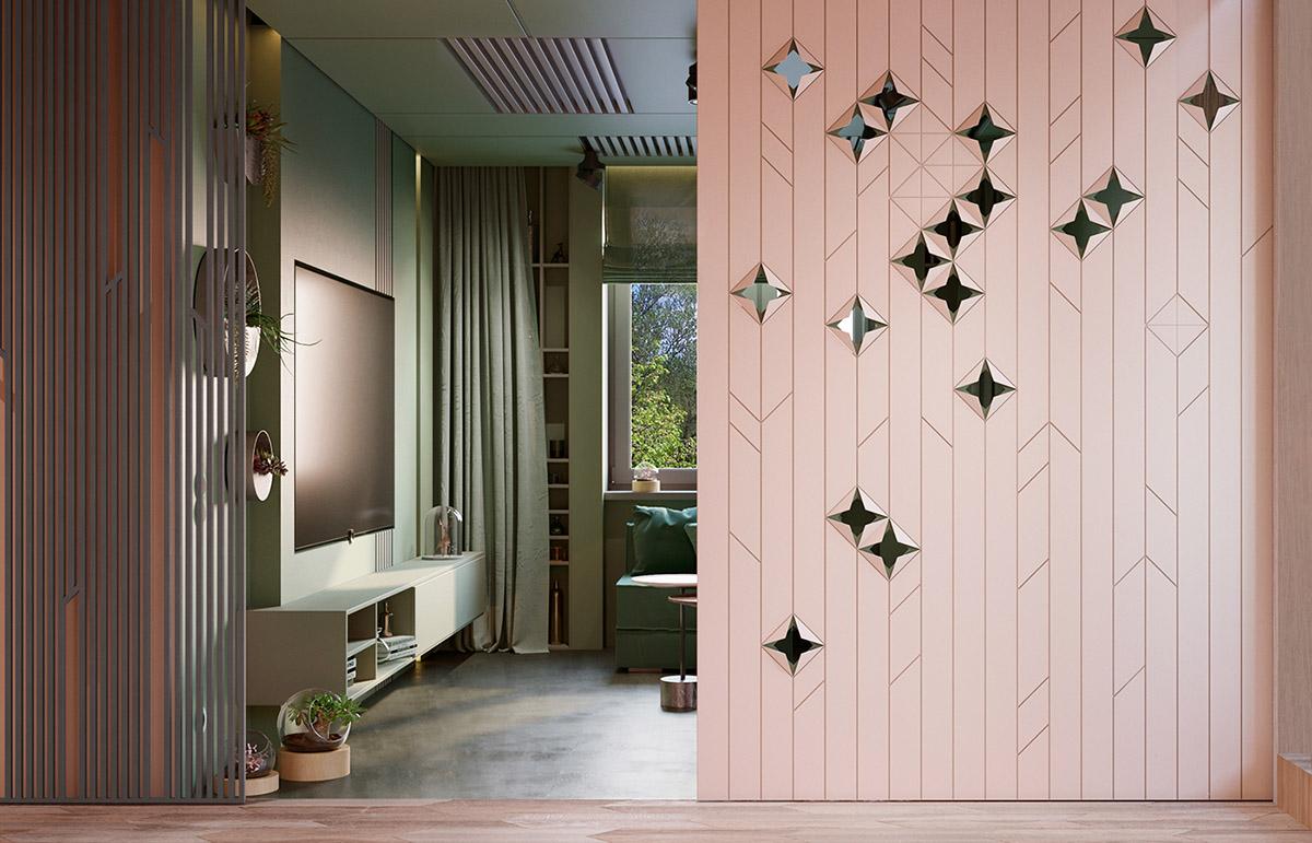 Интерьеры с использованием розового и зеленого: 2 примера, которые могут вам понравиться