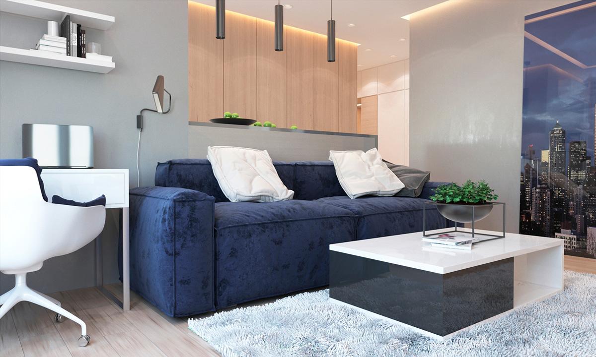 Светлый современный интерьер, который использует синий: Фотообзор