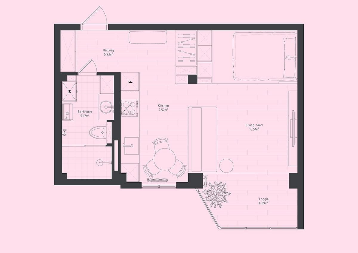 Минималистская квартира-студия с удивительной геометрией: Фотообзор