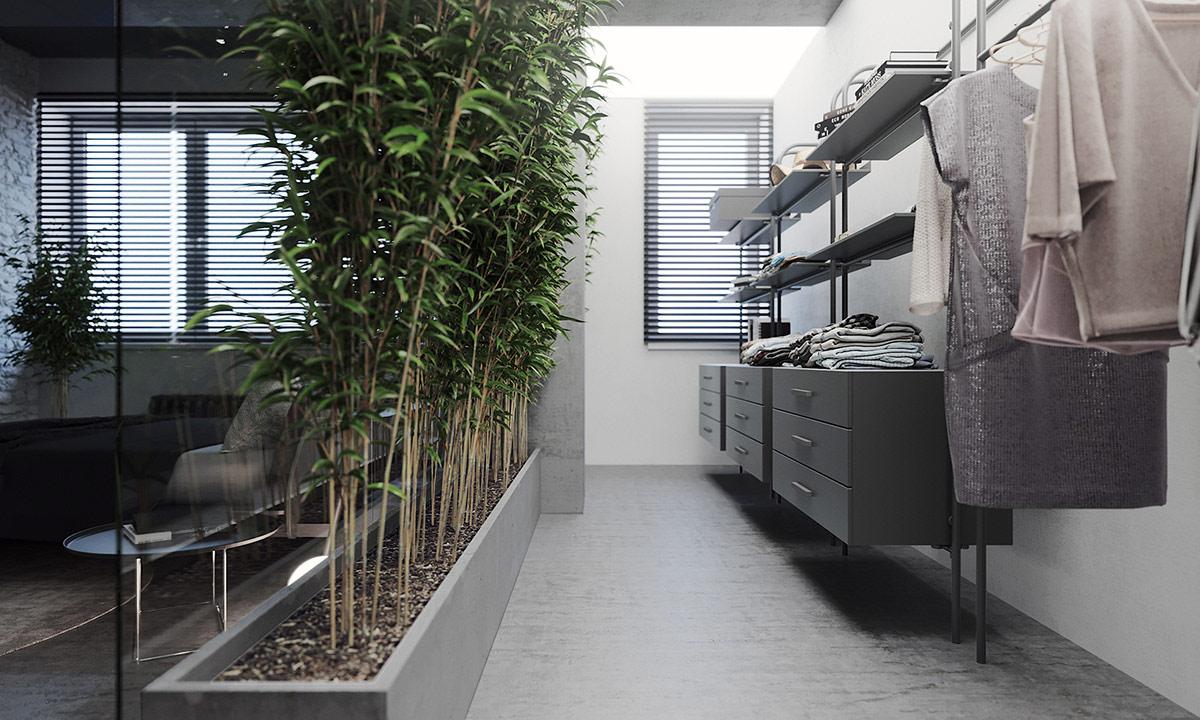 Растительные акценты в роскошном сером интерьере: Фотообзор